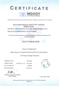 Certificate of ISO/TS16949:2009